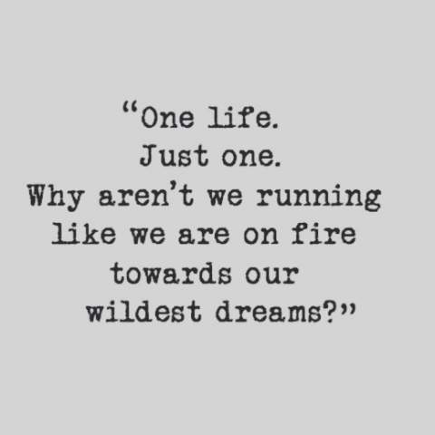 One life. Just One. Remind yourself Every day. Be brave enough to listen to your Heart and Soul. You got no Time to waste #justone #life #mymonk #dailyaffirmation #coaching #woman #empowerment #liebe #leben #taketheriskormissthechance #run